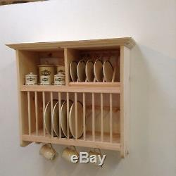 Hand Made Crafted Pine Wall Mounted Plate Rack