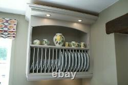 Hand made solid wood kitchen wall mounted plate rack