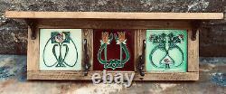 Handmade Art Nouveau Tubelined Tile Antique Iron Hooks Coat Rack