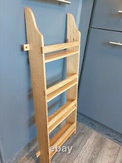 Handmade Oak Larder 4 Shelf Spice Rack 75 cm high 25 cm wide