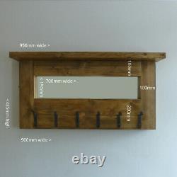 Handmade Rustic Farmhouse Scaffold Wood Coat Rack With Mirror & Shelf Hallway