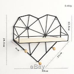 Heart-Shaped Metal Wire Shelf Wall Mounted Storage Hooks Display Rack Home Decor