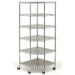 Heavy Duty Stainless Steel Corner Shelving Storage 6 Shelves Rack 600LB Capacity
