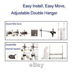 Heavy Duty Telescopic Wardrobe Organizer Movable Hanging Rail Garment Rack Big