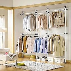 Heavy Duty Telescopic Wardrobe Organizer Movable Hanging Rail Garment Rack DI