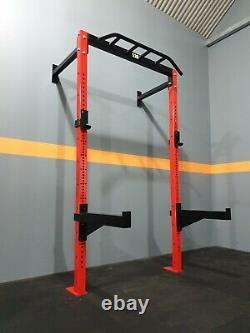 Heavy Duty Wall Mounted Rack Commercial Squat Rack J Hooks Safety Arms Red