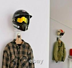 Helmet Holder Hanger Rack Jacket Hook Motorcycle Motorbike Wall Mount gear