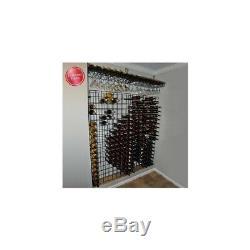 Home Wall Mount 144-Bottle Wine Floor Display Collecter Storage Grid Rack Black