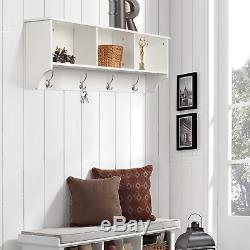 Homfa Wall Coat Rack Coat Hook with Shelf Wall Mounted Unit 3 Components 4 Hooks