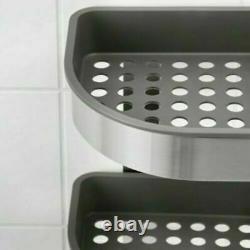 Ikea BROGRUND Shower Rack Stainless Steel 3 Tier Bathroom Corner Wall Shelf