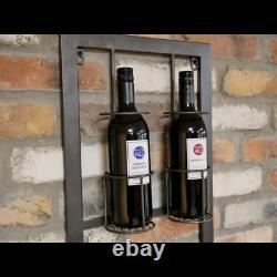 Industrial Metal Wall Wine Bottle Glass Rack Storage Display Shelf