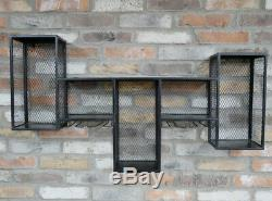 Industrial Metal Wine Rack Wall Storage Cabinet Distressed Bottle Glass Shelf