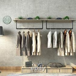 Industrial Pipe Clothes Bar Rack, 80cm Wall Mounted Detachable Retro Metal Rail