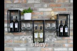 Industrial Rustic Reclaimed Metal Wall Wine Cabinet Drinks Storage Rack (dx5988)