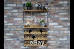 Industrial Rustic Wood Metal Wall Mounted Wine Rack Storage Cabinet Dx6665