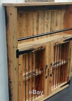 Industrial Rustic reclaimed Storage cabinet Wine Rack shelf liquor display