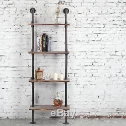 Industrial Style Metal and Wood Wall-Mounted 4-Tier Display Shelf / Utility Rack
