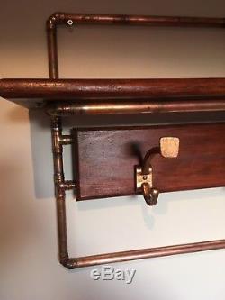 Industrial Style handcrafted Copper & Oak Wall Mounted coat rack & shelf