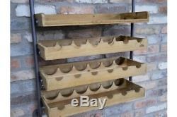 Industrial Wine Wall Unit Bottle Storage Hanging Glass Rack Display Shelving