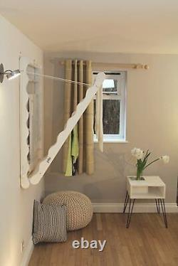 JuJu Laundry Ladder Indoor Airer Wall Mounted Clothes horse rack In Pine White