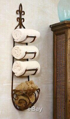 Kalalou CQ1024 Rustic Iron Hanging Towel Rack with Basket