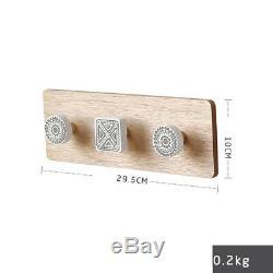 Key Holder Wooden Wall Mounted Coat Hook Rail Rack Hanger Home Decor Uk