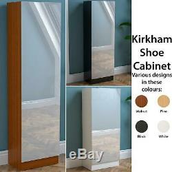 Kirkham Shoe Cabinet Mirrored Cupboard Footwear Storage Rack Stand Organiser