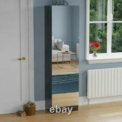 Kirkham Shoe Cabinet Mirrored Storage Cupboard Footwear Stand Rack Black 180cm