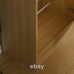 Kirkham Shoe Cabinet Mirrored Storage Cupboard Footwear Stand Rack Oak 180cm