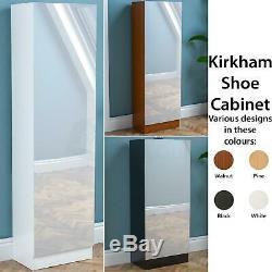 Kirkham Shoe Cabinet Mirrored Storage Cupboard Footwear Stand Rack Organiser