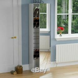 Kirkham Shoe Cabinet Mirrored Storage Cupboard Rack Stand Footwear White 180cm
