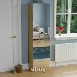 Kirkham Shoe Cabinet Mirrored Storage Footwear Cupboard Rack Stand Oak 180cm