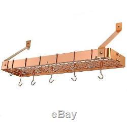 Kitchen Cookware Rack 12 Hooks Wall Mount Copper Shelf Pot Pan Organizer Storage