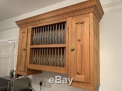 Kitchen Plate Rack Shelf, Solid Pine Wood, Wall Mounted