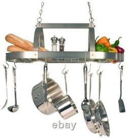 Kitchen Pot Rack 2-Light Chandelier Brushed Nickel 10 Hooks 35.50 x 19.25 x 13.4