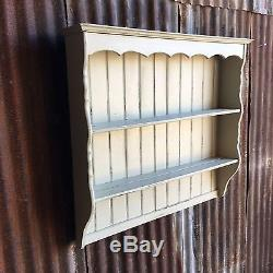 Kitchen Vintage Pine Wall Mounted Plate Rack Rustic Shelving F&B French Grey