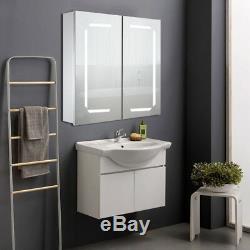 LED Mirror Bathroom Cabinet Wall Hung Unit Bluetooth Shaver Socket Demister Rack