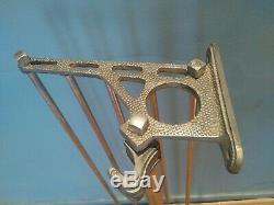 Large Art Deco metal wall mounted luggage rack coat hook rail 1930-40