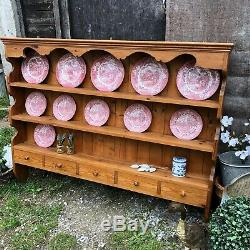 Large Country Farmhouse Vintage Wall Mounted Pine Dresser Top Plate Rack Drawers