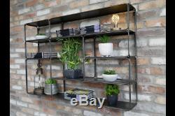 Large Industrial Wall Mounted Shelf Storage Display Unit Rack Black Metal 120cm