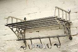 Large Vintage Style Luggage Train Wall Mounted Rack With Shelf & Five Hooks