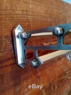 Large vintage metal wall mounted luggage rack coat hook rail
