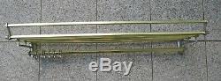 Large vintage metal wall mounted luggage rack coat hook rail 1945/55