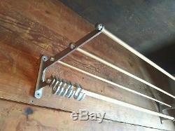 Large vintage metal wall mounted luggage rack coat hook rail Art Deco 1940 /1950