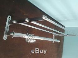 Large vintage metal wall mounted luggage rack coat hook rail Polished aluminium