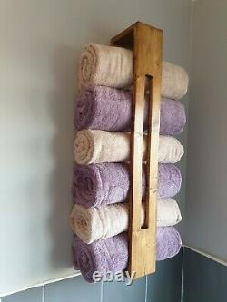 Larissa Towel Storage Rack Wax Finish Rustic Handmade Wooden