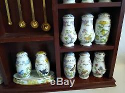 Lenox Vintage Porcelain Birds & Blossoms Spice Jars With Rack 1994