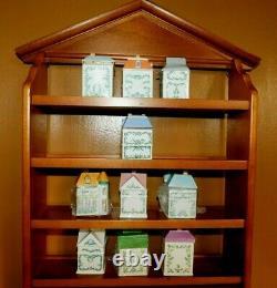 Lenox Wooden Spice Rack & 10 Village Spice Jars Houses