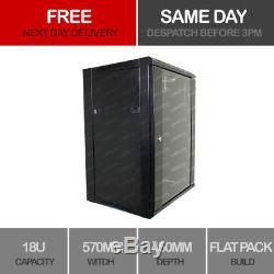 Linxcom 18U 19 Network Wall Cabinet Data Comms Rack 570x450mm Black