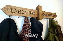 Long Handmade personalised Solid Oak Coat Rack, Coat Hanger, Wall mounted rack